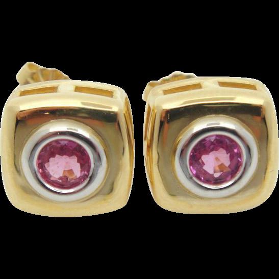 Pink Sapphire Stud Earrings