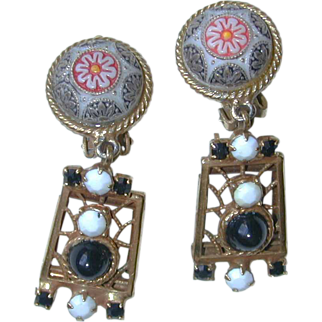 Juliana Moroccan Matrix Cabochon Dangle Earrings