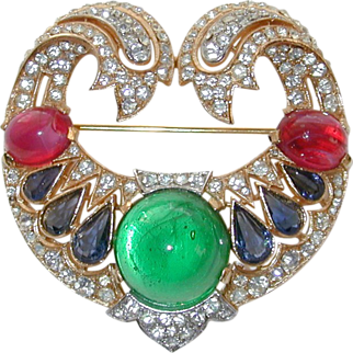 Trifari Jewels of India Pin with Rhinestones and Cabochons