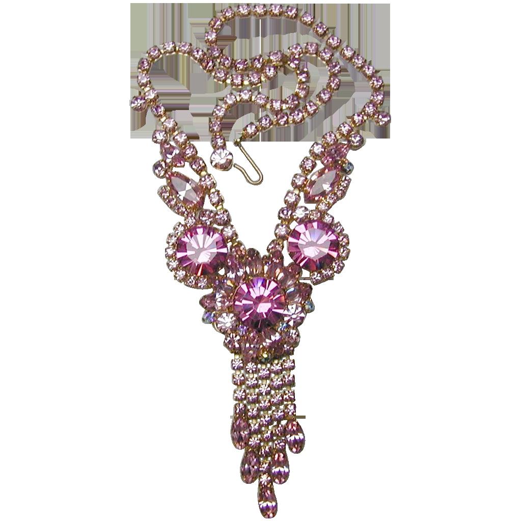 Juliana D&E Brilliant Pink Rhinestone Necklace