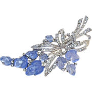 TRIFARI Pale Blue Fruit Salad and Rhinestone Floral Fur Clip