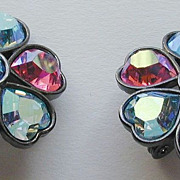 Yves St Laurent YSL for Carnegie Heart Rhinestone Earrings