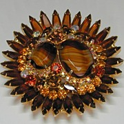 Juliana D&E Huge Art Glass and Rhinestone Pin.
