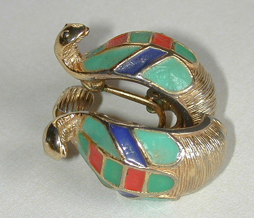 Signed Hattie Carnegie Egyptian Cobra Earrings