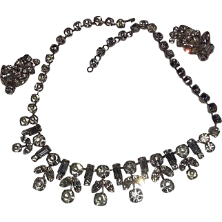 Vintage 60's Unsigned FAB Rhinestone Necklace Earrings Set Demi Parure Silver tone Wedding