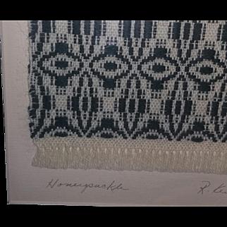 Vintage Rita Kent Folk Art Textile Coverlet Rug Miniature Weaving Kentucky artist signed Michigan