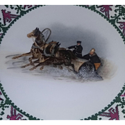 Antique Rare Porcelain China Plate Prussia Rudolstadt Snow Sleigh Handpainted Scene