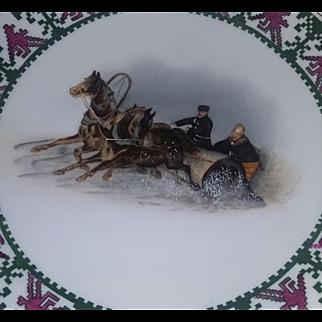 Antique Rare Porcelain China Plate Prussia Rudolstadt Snow Sleigh Handpainted Scene