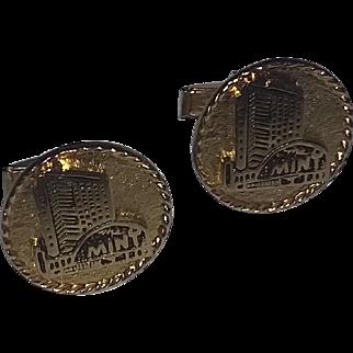 Vintage 60's Mid Century Modern Cufflinks Diamond Jim The Mint Building Father's day