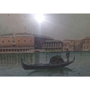 Antique Painting Master Hand Venice Italy Italian Gondolas Watercolor Signed Estate