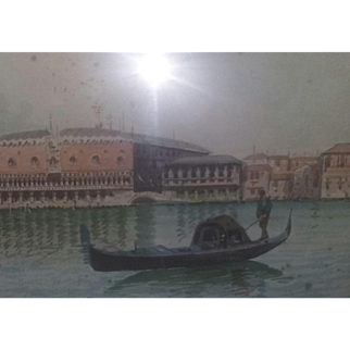 Antique Painting Venice Italy Italian Gondolas Watercolor Signed Estate