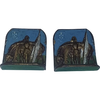Rare 1920's Metal Bookends Joan Jeanne of Arc Cold Painted Fabulous