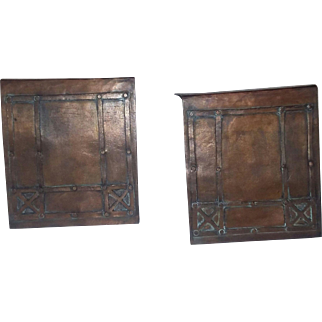 Antique Arts Crafts Mission Era Copper Bookends Unsigned estate book library