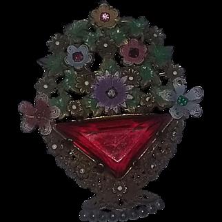 Vintage Rare 1920's 30's Art Deco Czech Rhinestone Pin Brooch Flowers Rhinestone Enameled Large Fabulous