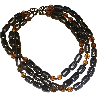 True Vintage 40's World War Two Era Autumn Fall Glass Beads Necklace Unsigned Miriam Haskell