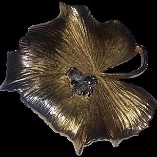 Vintage Art Deco Era 40's Rare Sterling Silver Rhinestone Gold Gilt Bug Pin Reja Valentine's Day