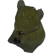 Vintage 1920's Rare Czech Art Glass Charm Toy Cracker Jacks Vaseline Uranium Dog Bulldog Toy