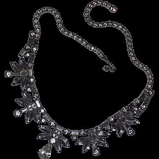 Vintage RARE 30's Art Deco Sterling Silver Rhinestone Necklace Leo Glass