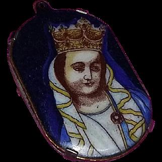 Vintage Enameled Pin Brooch Necklace Pendant Woman Queen Russian Italian Icon Unique