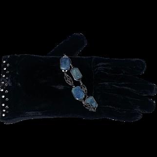 Vintage Art Deco Era 20's  Sterling Silver Marcasite Bracelet estate FAB