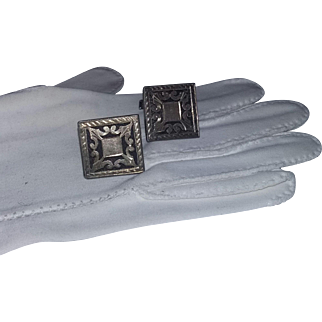 Vintage 40's Mexican Mexico Sterling Silver Cufflinks Signed estate
