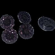 Antique Victorian Steampunk Lacy Glass Buttons Button 5 Dress
