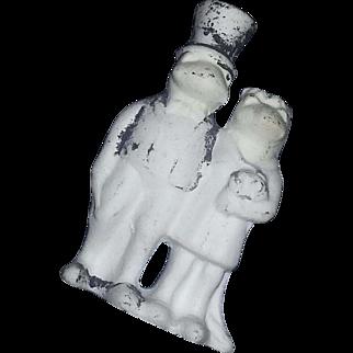 Rare Antique Hertwig Germany Bisque Doll Frog Bride Groom Wedding Cake topper