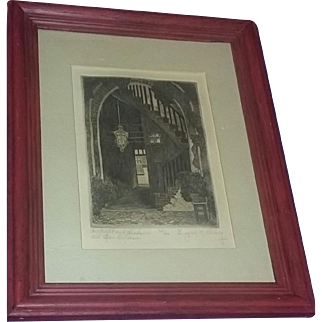 Vintage Etching Listed Artist New Orleans Signed Loving Architectural
