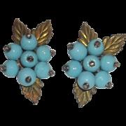 Art Deco Era Fur Clips Pin Matching Set Blue Glass Gripoix Unsigned Estate
