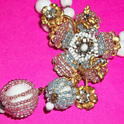 Vintage Grand Duchess Necklace Filigree Wire work Glass Beaded Spectacular