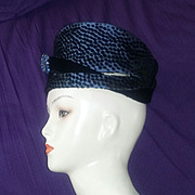 Jack McConnell NY Vintage Rare Red Feather Turban Cloche Hat Black Velvet Blue Rhinestone Polka Dots Runway Couture