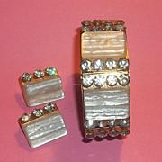 True VINTAGE Leru Chunky Lucite Rhinestone Bracelet and Earrings Set Parure FUN