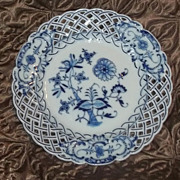 Antique Blue White Onion Reticulated Meissen Plate Estate China Gorgeous #2