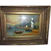 Painting ANTIQUE Oil Landscape European Estate Signed Oberwesel Germany Castle