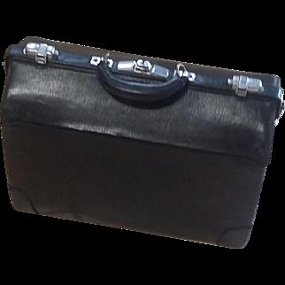 Antique Steampunk Large Black Leather Doctors Bag Suitcase Messenger Luggage Large Black Leather estate