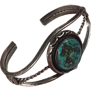 Vintage Old Pawn Native American Navajo Coin Silver Turquoise Bracelet Fred Harvey Era