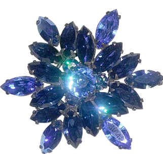 Vintage Signed Regency Rhinestone Pin Brooch Peacock Blue Borealis