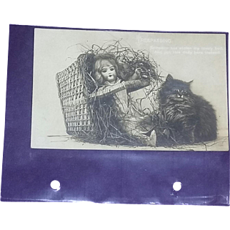 Rare Postcard Jumeau Doll Basket Black Cat Sepia Photo EAS