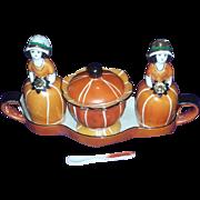 Art Deco Era Lustreware Lusterware Condiment Set Flapper Girls Noritake