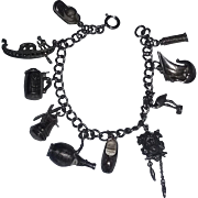 Vintage 50's Mid Century Grand European Tour Sterling Silver Charm Bracelet