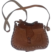 True Vintage 60's Tooled Leather Saddle Bag Purse RARE CHILD'S SIZE