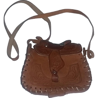 True Vintage 60's Tooled Leather Saddle Bag Purse RARE CHILD'S SIZE