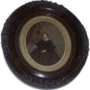 Antique American Folk Art Hand Painted Photo Photpgraph Rare Portrait Painting AAFA Primitive Woman 19th Century Pennsylvania