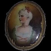 Antique Victorian Steampunk Edwardian French Woman Handpainted Portrait Pin Brooch estate