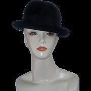 True Vintage 40's Italian Italy Black Fedora Diamante 25 Doctor's Estate 7 Italian Couture designer