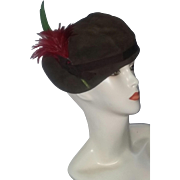 Vintage Art Deco Era 40's Rare Stetson Ladies Leather Suede Asymmetrical Feather Hat Fall Colors New York