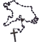 Vintage Old Rosary Amethyst Cut Glass Gold Gilt Brass Catholic Rosary GORGEOUS