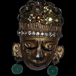 Vintage Mid Century Modern Modernist 60's Rhinestone Mask Pin Brooch Unsigned Tribal Boho Ethnic