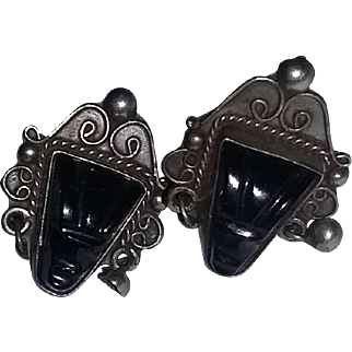 Vintage Mexican Mexico Silver Mask Earrings Tribal Boho Ethnic 40's