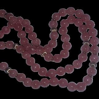 Vintage Rose Pink Quartz Necklace 14 kt Gold Beads Necklace Long Sautoir